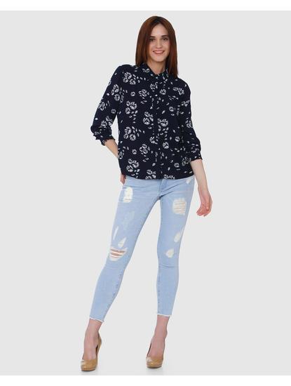 Navy Blue All Over Dandelion Print Shirt
