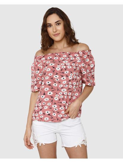 Pink All Over Floral Print Off Shoulder Top