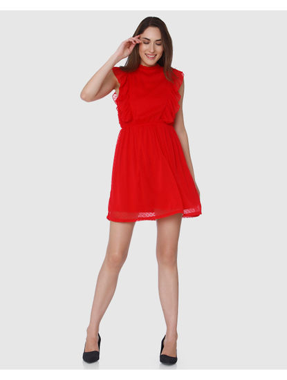 Red Ruffle Detail Fit & Flare Dress