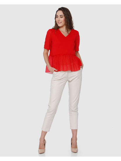 Red Dobby Weave Ruffle Detail Top