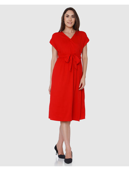 Red Wrap Midi Dress
