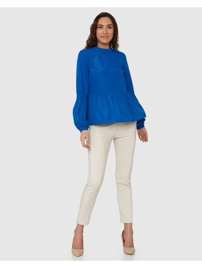 Blue Peplum Bishop Sleeves Top