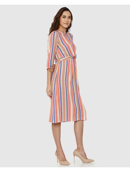 Beige Striped Twisted Waist Midi Dress