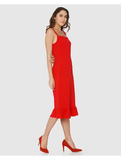 Red Flared Hem Midi Dress