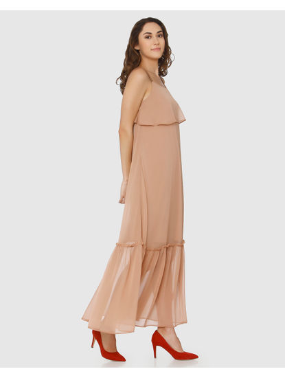 Beige Layered Maxi Dress