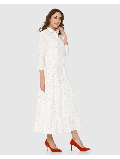 White Polka Dot Print Maxi Dress