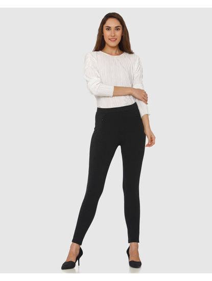 Black Mid Rise Ankle Length Skinny Fit Leggings