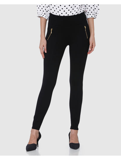 Black Mid Rise Zip Detail Ankle Length Skinny Fit Leggings