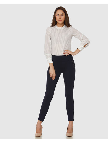 Navy Blue Mid Rise Zip Detail Ankle Length Skinny Fit Leggings