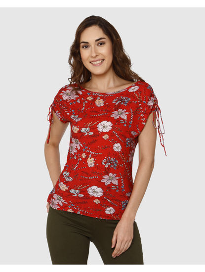 Red All Over Floral Print Tie Up Sleeves Top