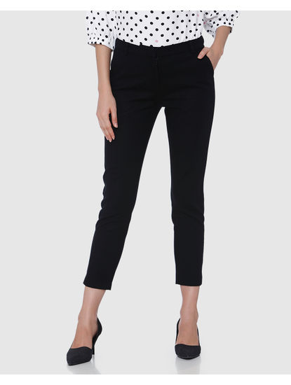 Black Mid Rise Ankle Length Straight Trousers