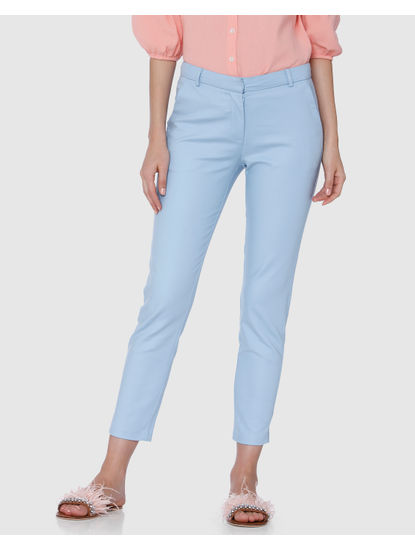 Powder Blue Mid Rise Straight Fit Pants