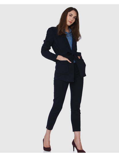 Navy Blue Mid Rise Ankle Length Straight Trousers