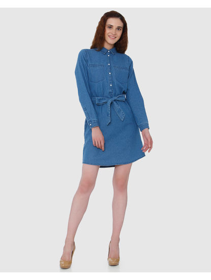 Blue Front Tie Denim Mini Dress