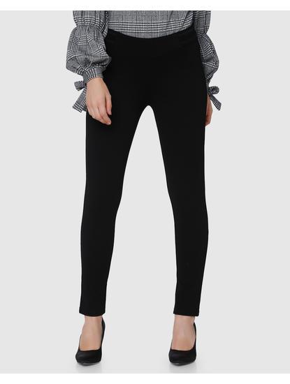 Black Ankle Length Skinny Fit Pants