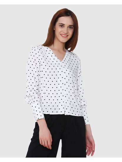 White All Over Polka Dot Print Shirt