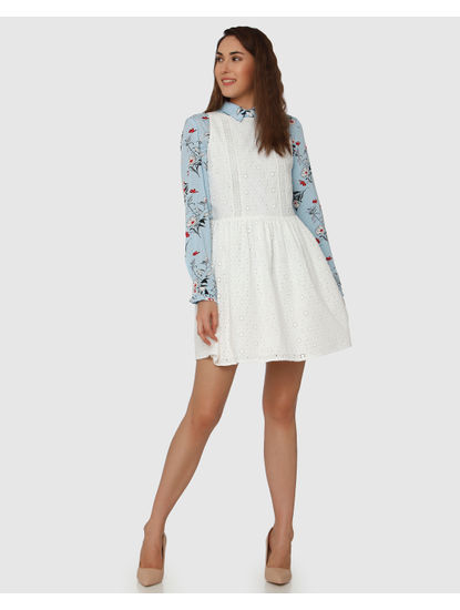 White Schiffy Fit & Flare Dress