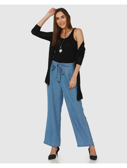 Blue High Rise Tie Up Waist Ankle Length Denim Culottes