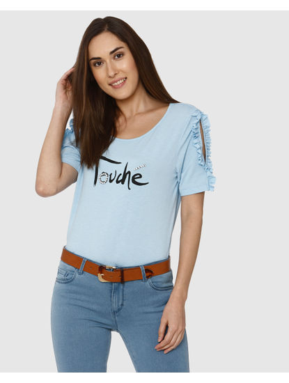 Blue Embellished Text Print Ruffle Sleeve Detail T-Shirt