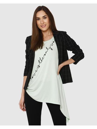 Lavender Text Embellished Print Asymmetric T-shirt