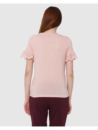 Peach Cut Work Sleeves T-Shirt