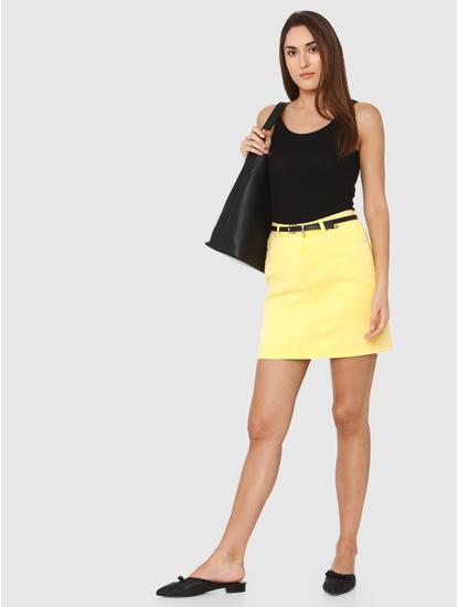 Yellow Mid Rise Denim Mini Skirt