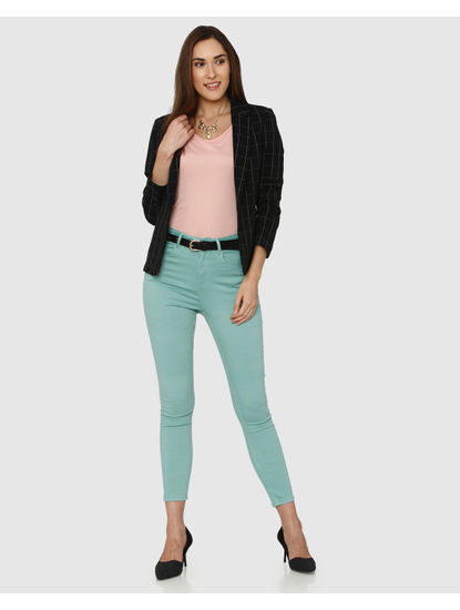 Green High Waist Ankle Length Skinny Fit Pants