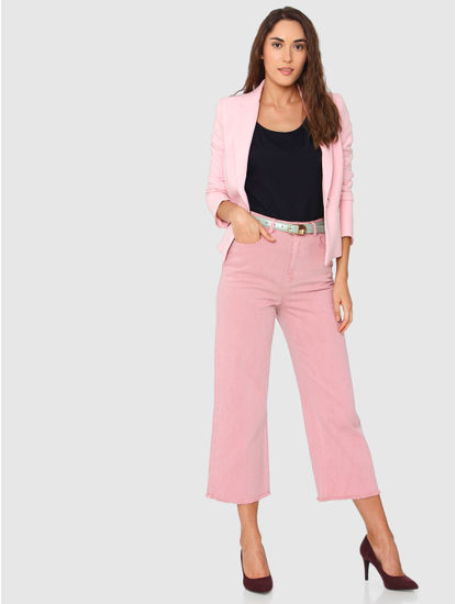 Pink High Rise Ankle Length Wide Leg Comfort Fit Jeans