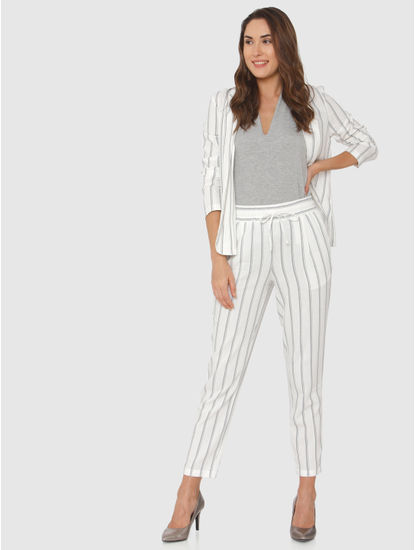 White Mid Rise Striped Drawstring Pants