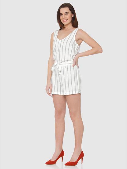 White Striped Tie Up Waist Playsuit