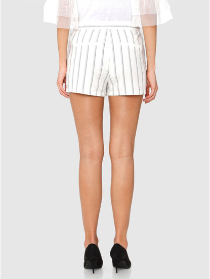 White Mid Rise Striped Shorts