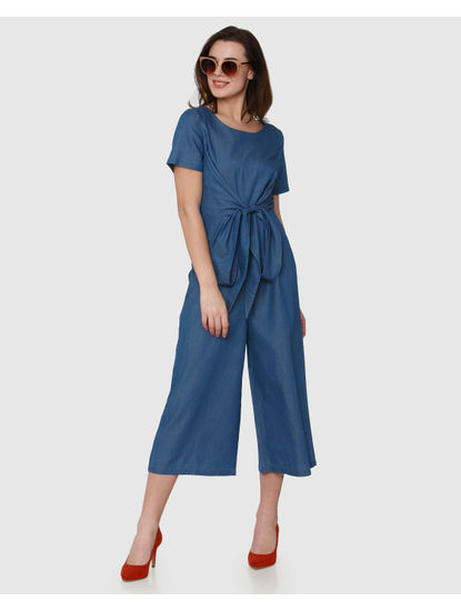 Blue Front Knot Detail Flared Midi Jumpsuit