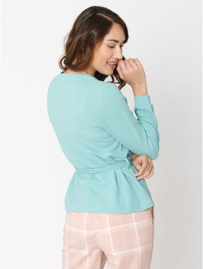 Green Belted Wrap Blazer