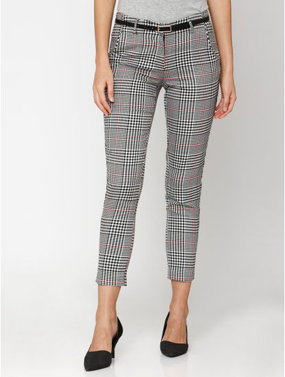 Black Mid Rise Check Ankle Length Pants