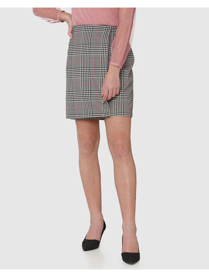 Black Mid Rise Colour Blocked Striped Wrap Skirt