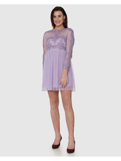 Lavender Lace Detail Fit & Flare Dress