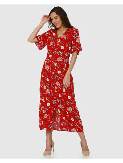 Red All Over Floral Print Mid Slit Maxi Dress