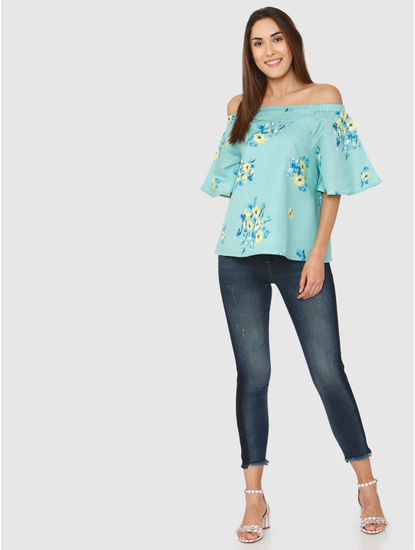 Green Floral Printed Off Shoulder Top