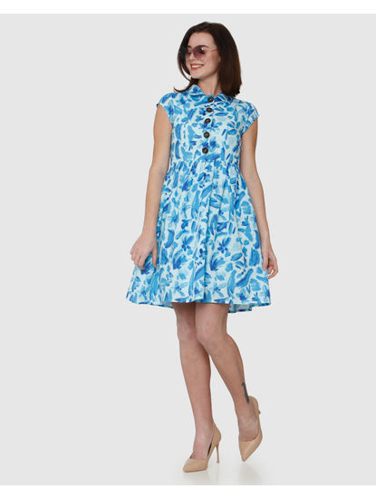 Blue Floral Print Fit & Flare Dress