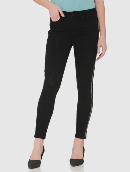 Black Mid Rise Side Tape Detail Skinny Fit Jeans