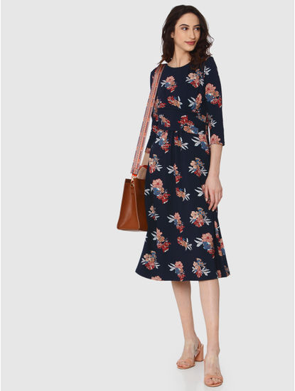 Navy Blue All Over Floral Print Drape Midi Dress