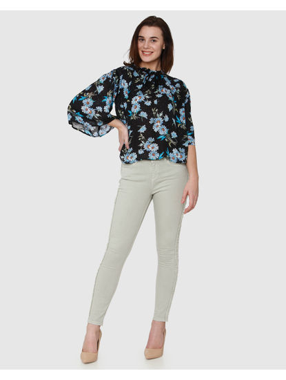Navy Blue All Over Floral Print Frill Neck Top