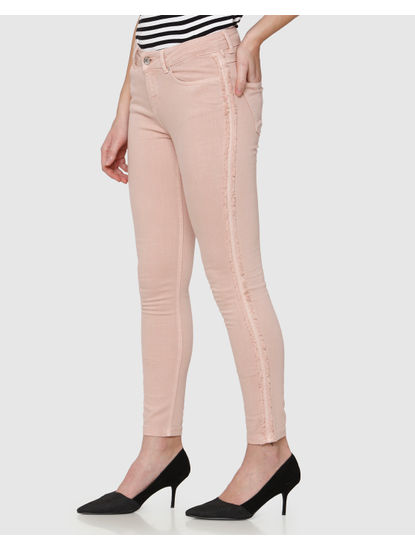 Pink Mid Rise Side Frayed Tape Detail Washed Ankle Length Skinny Fit Jeans