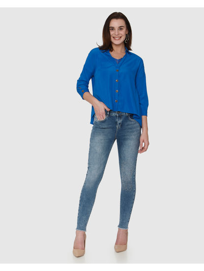 Blue Mid Rise Distressed Embroidered Ankle Length Skinny Fit Jeans