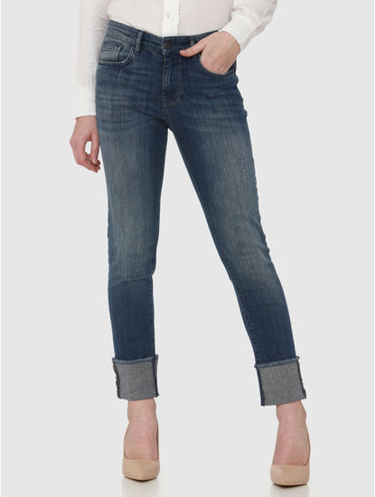 Blue Mid Rise Turn Up Hem Ankle Length Skinny Fit Jeans