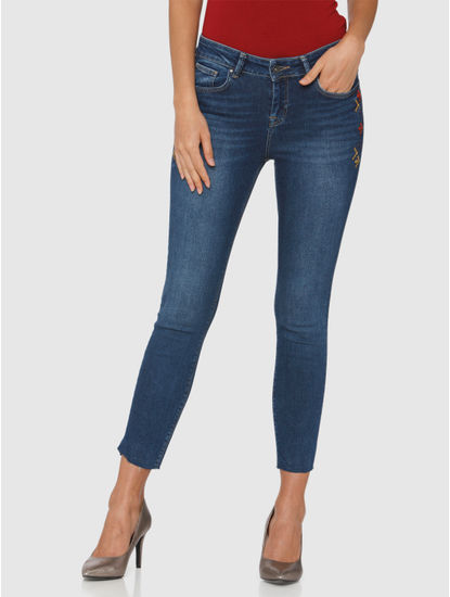 Blue Mid Rise Embroidered Skinny Fit Jeans