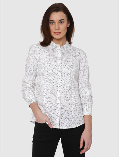 White All Over Printed Shirt