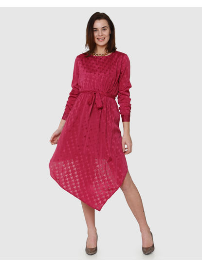 Fuchsia Textured Print Asymmetric Hem Belted Fit & Flare Dress