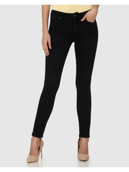Dark Blue Mid Rise Side Tape Ankle Length Skinny Fit Jeans