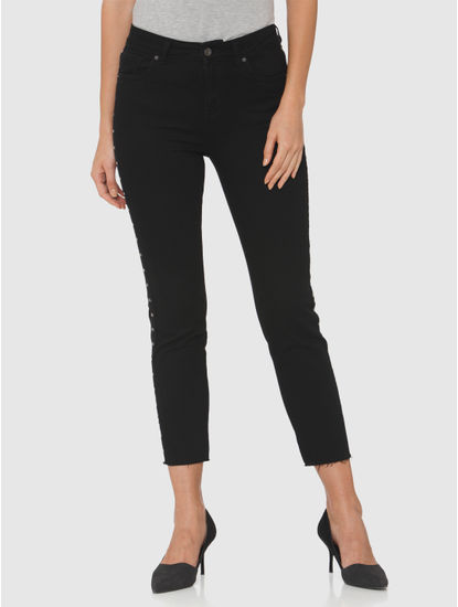 Black High Rise Side Rivet Detail Ankle Length Slim Fit Jeans